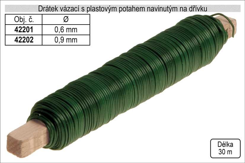 Drátek vázací s PVC potahem 0,6mm délka 30m na dřívku Nářadí 0.05Kg 42201
