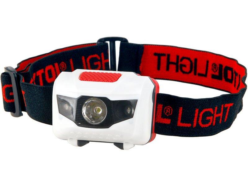 čelovka 1W + 2LED, 4módy světla: 100%, 50%, červené LED, červené LED blikání, baterie 3x1