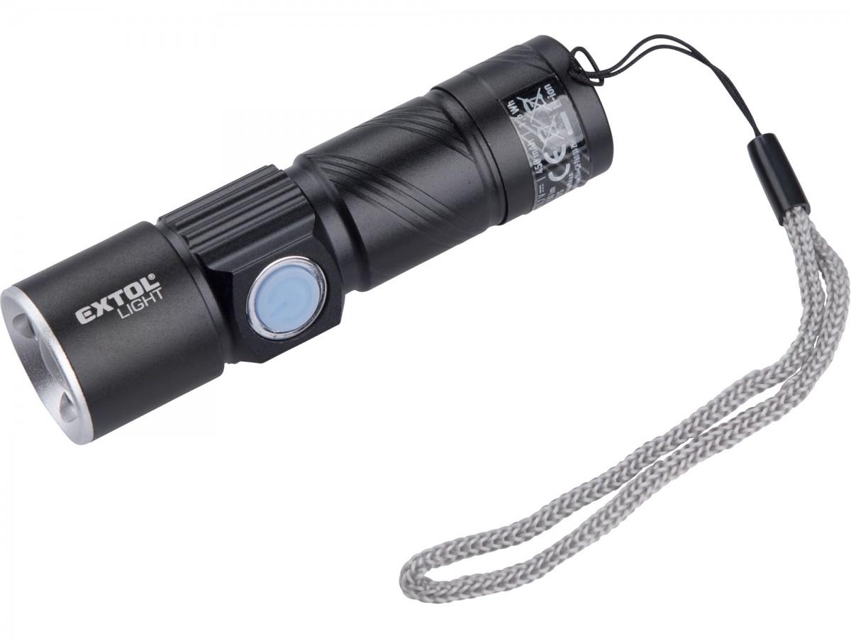 EXTOL LIGHT svítilna 150lm, zoom, USB nabíjení, XPE 3W LED