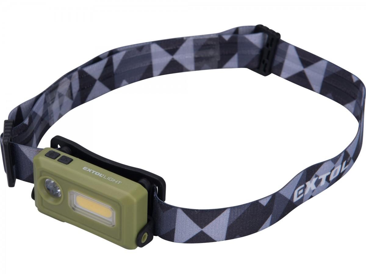 EXTOL LIGHT čelovka 140lm, nabíjecí, USB, LED+COB LED