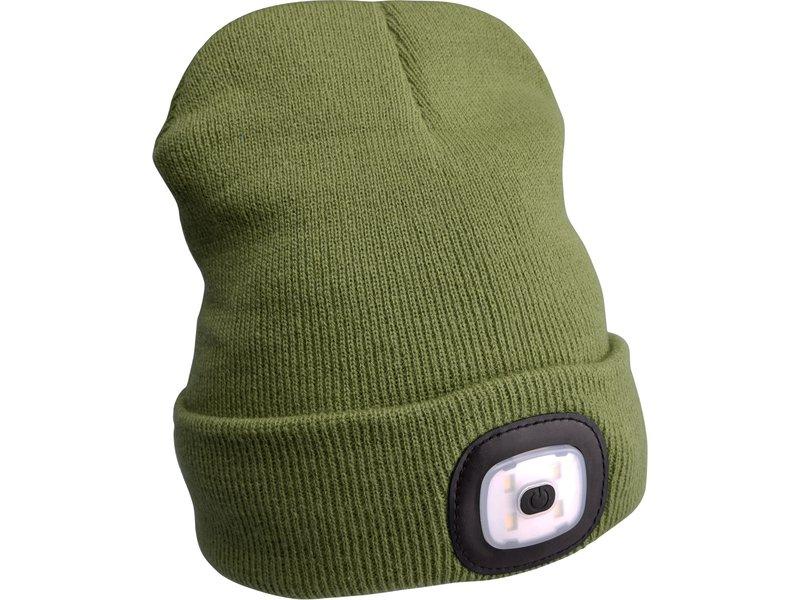 EXTOL LIGHT čepice s čelovkou, nabíjecí, USB, tmavě zelená, univerzální velikost  43192