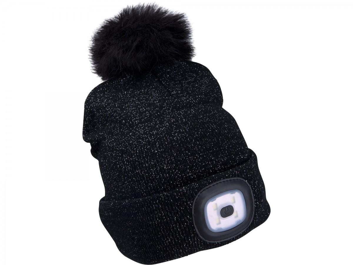 EXTOL LIGHT čepice s čelovkou, nabíjecí, USB, černá se třpytkou a bambulí 43196