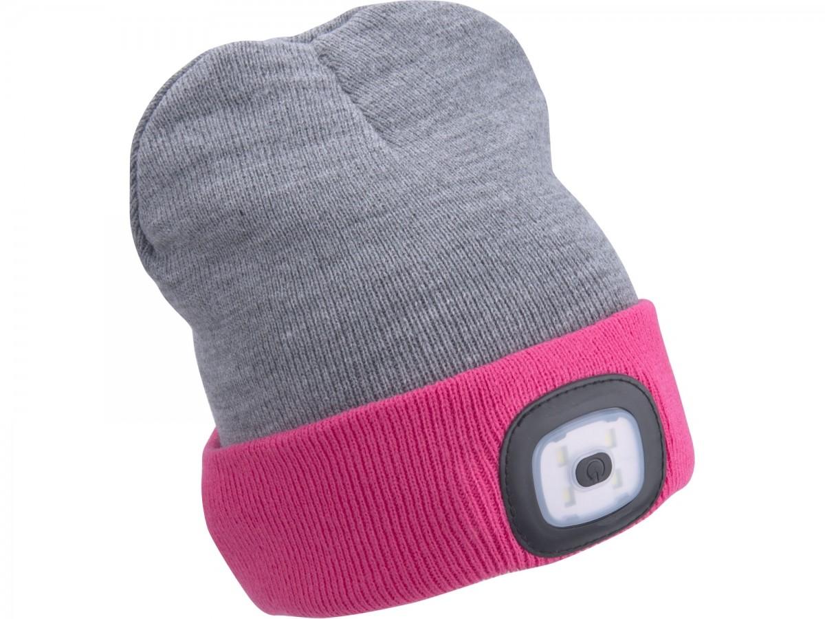EXTOL LIGHT čepice s čelovkou, nabíjecí, USB, šedá/růžová, univerzální velikost  43197