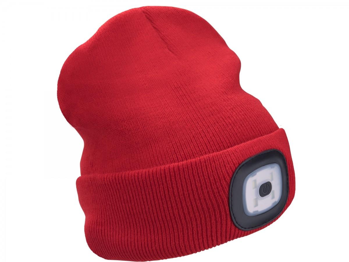 EXTOL LIGHT čepice s čelovkou, nabíjecí, USB, červená, univerzální velikost  43197