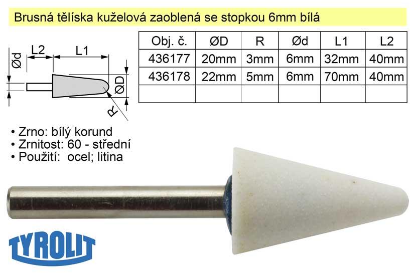 Brusné tělísko kuželové zaoblené se stopkou 6mm bílé 22x70mm