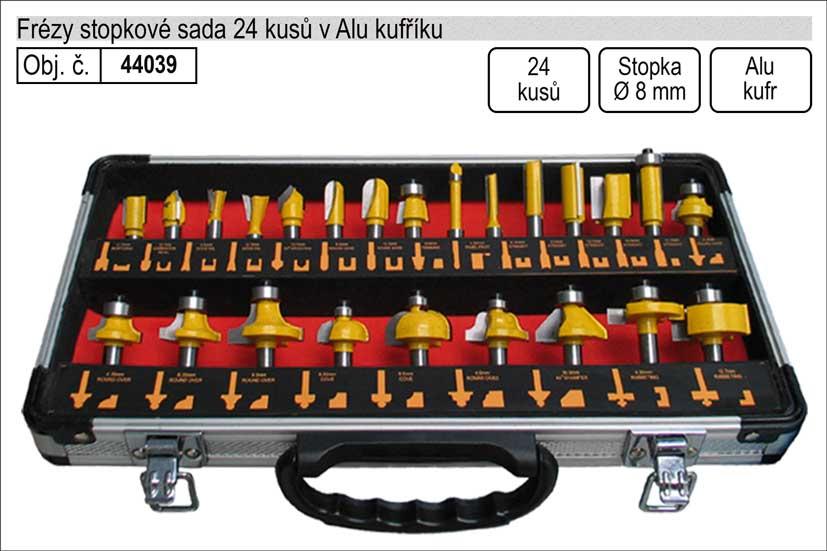 Frézy stopkové sada 24 kusů se stopkou 8mm 44039