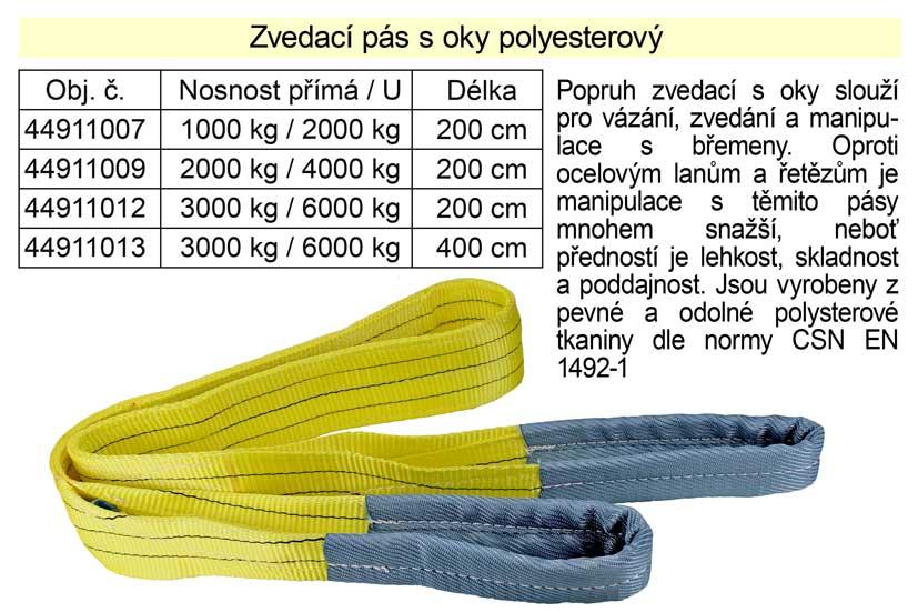 Zvedací pás s oky polyesterový délka 200cm / 3000kg šíře 90mm 3t 2m