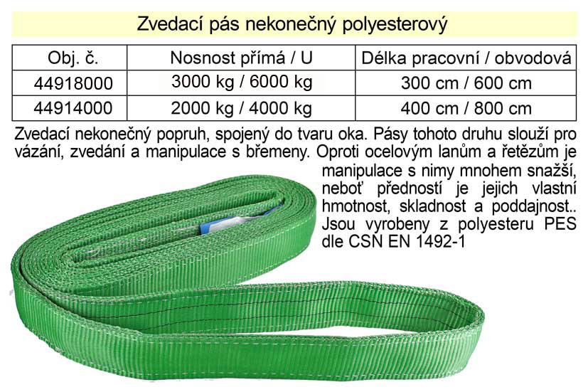 Zvedací pás  4m/8m 3000kg - nekonečný popruh