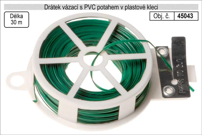 Drátek vázací s PVC potahem 0,6mm délka 30m v plasové kleci Nářadí 0.08Kg 45043