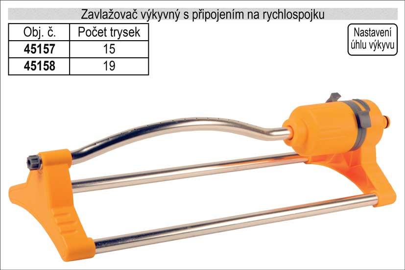 Zavlažovač výkyvný 17 trysek pro zahradní hadici s připojením na rychlospojku Nářadí 0.78Kg 45158