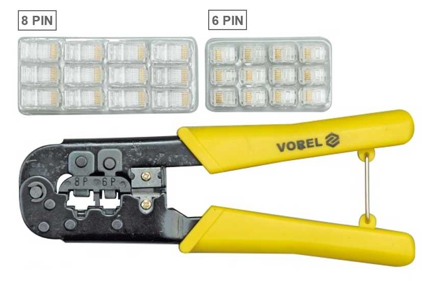 Kleště na lisování konektorů 8 PIN a 6 PIN se sadou konektorů, Vorel