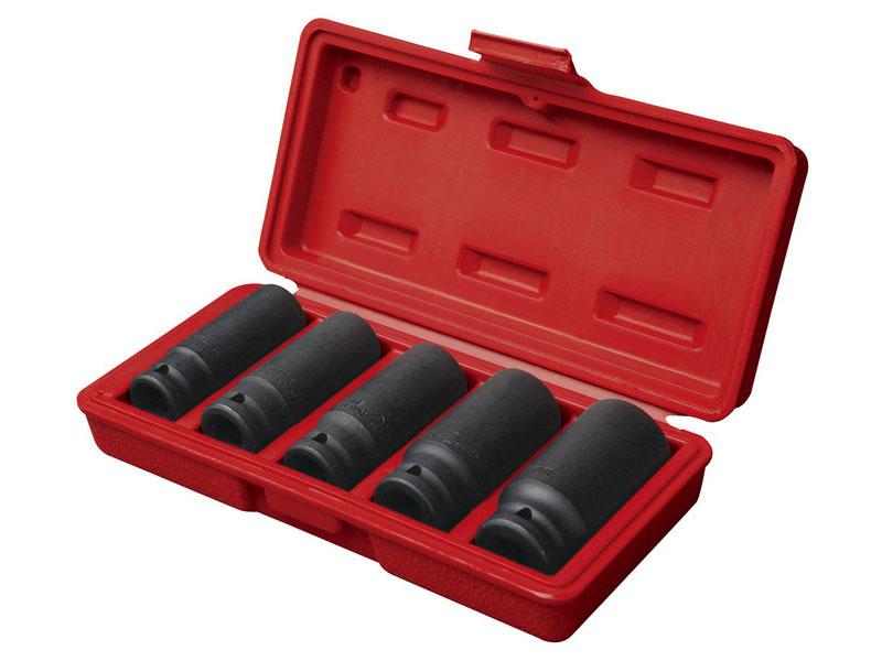 "hlavice nástrčné rázové, sada 5ks, 1/2"", 17-19-21-24-27mm, L 79mm, L 79mm, CrMoV, FORTUM"