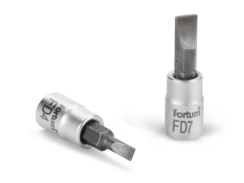 """hlavice zástrčná šroubovák plochý, 1/4"""", 7mm, L 37mm, FD7, CrV/S2, FORTUM"""