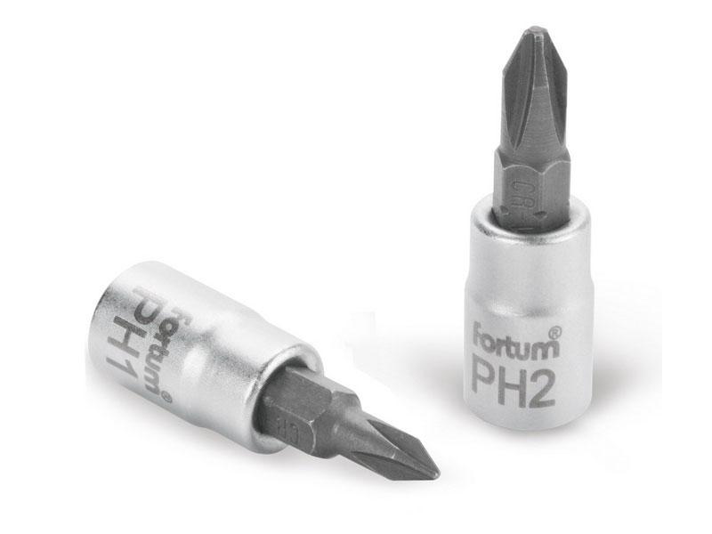 """hlavice zástrčná šroubovák PH2, 1/4"""", PH 2, L 37mm, CrV/S2, FORTUM Nářadí 0.021Kg MA4701812"""