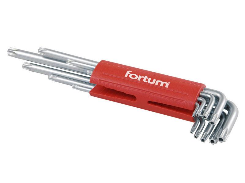 L-klíče TORX vrtané prodloužené, sada 9 ks, TTa 10-15-20-25-27-30-40-45-50, S2, FORTUM