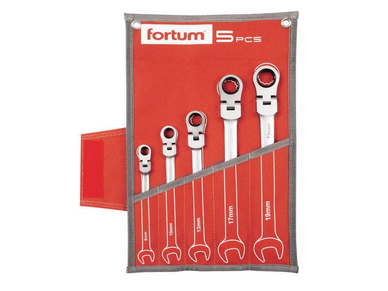 klíče ráčnové očkoploché s kloubem, sada 5ks, 8-10-13-17-19mm, CrV/S2, FORTUM