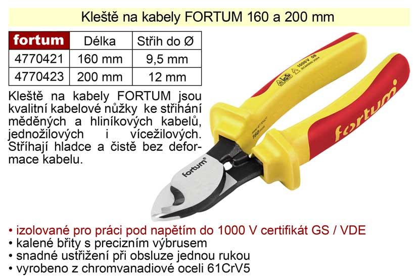 Kleště na kabely Fortum 200 mm Nářadí 0.39Kg MA4770423