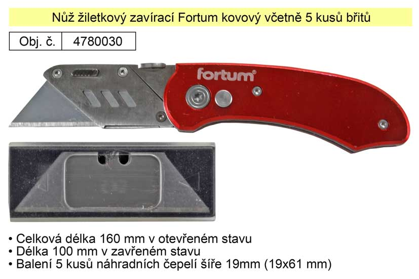 Nůž žiletkový zavírací Fortum kovový včetně 5 kusů břitů