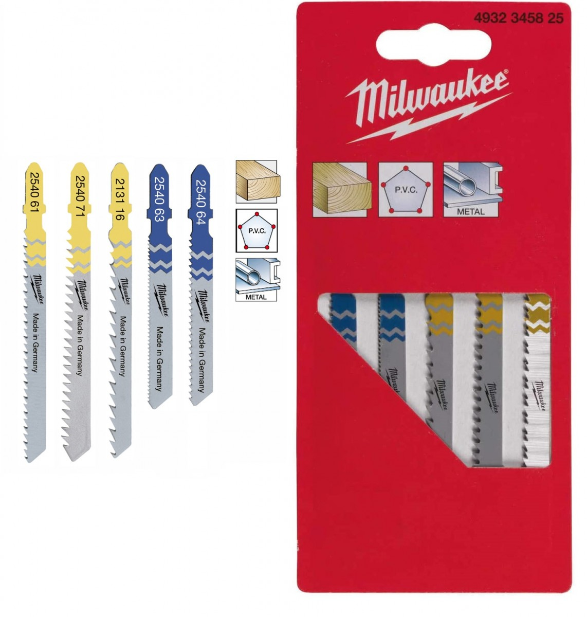 MILWAUKEE pilové plátky MIX pro přímočaré pily, sada 5 ksKg 4932345825