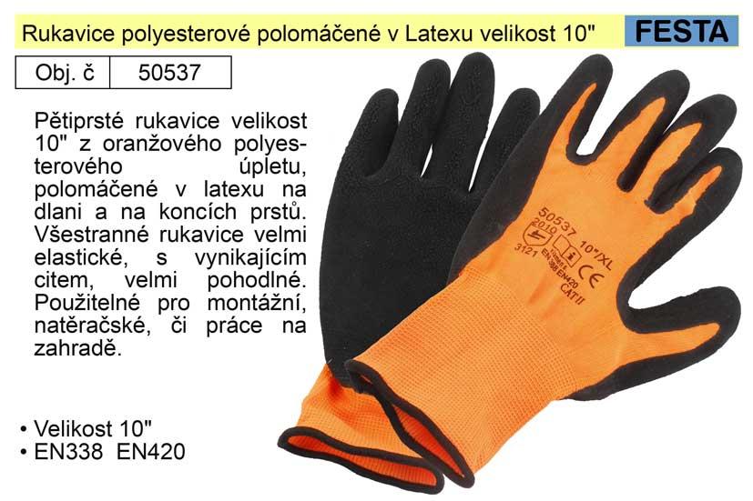 """Rukavice polyesterové polomáčené v Latexu velikost 10"""" Nářadí 2Kg 50537"""
