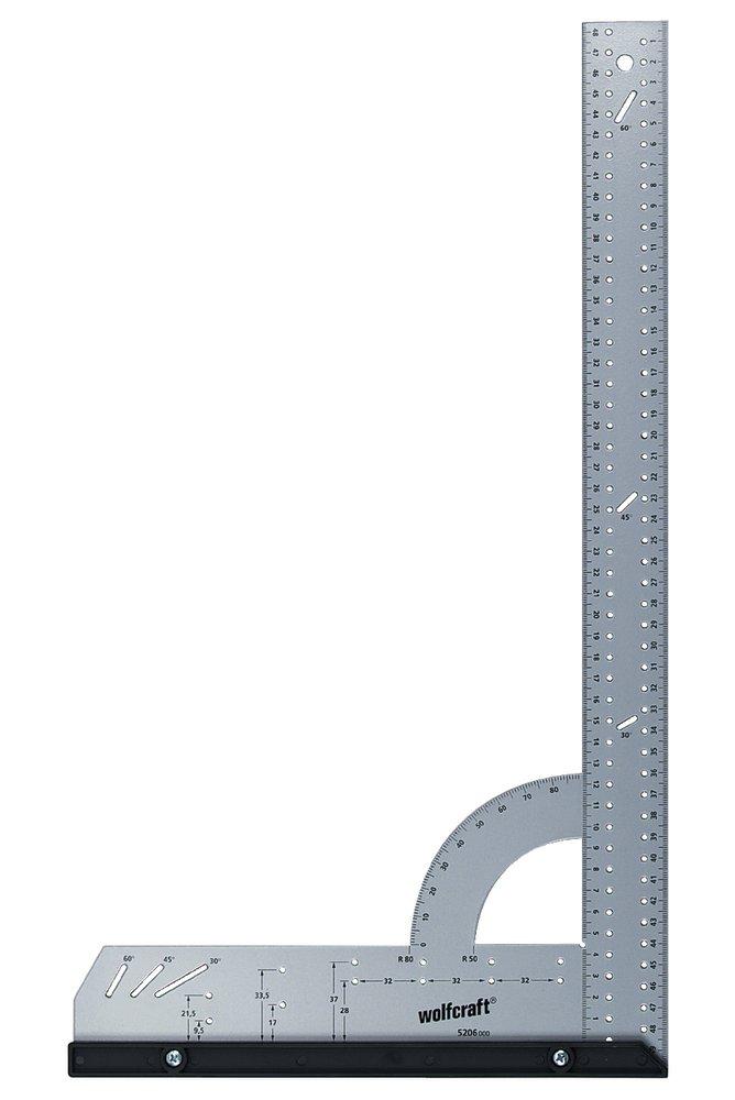 Wolfcraft Úhelník univerzální příložný s otvory a úhloměrem, Alu, 280x500mm