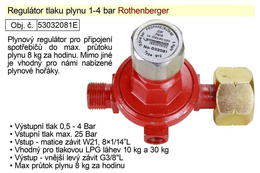 Regulátor tlaku plynu 1-4bar vhodný pro plynové hořáky