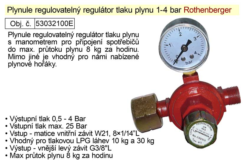 Redukční ventil (regulátor tlaku plynu) 0,4-4bar s manometrem Rothenberger