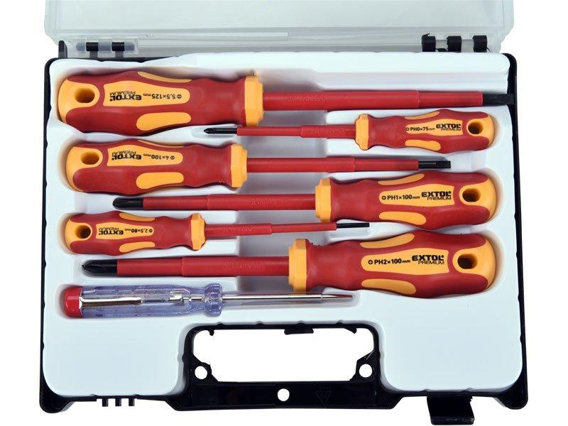 Šroubováky elektrikářské, sada 7 kusů, v kufříku, Extol Premium