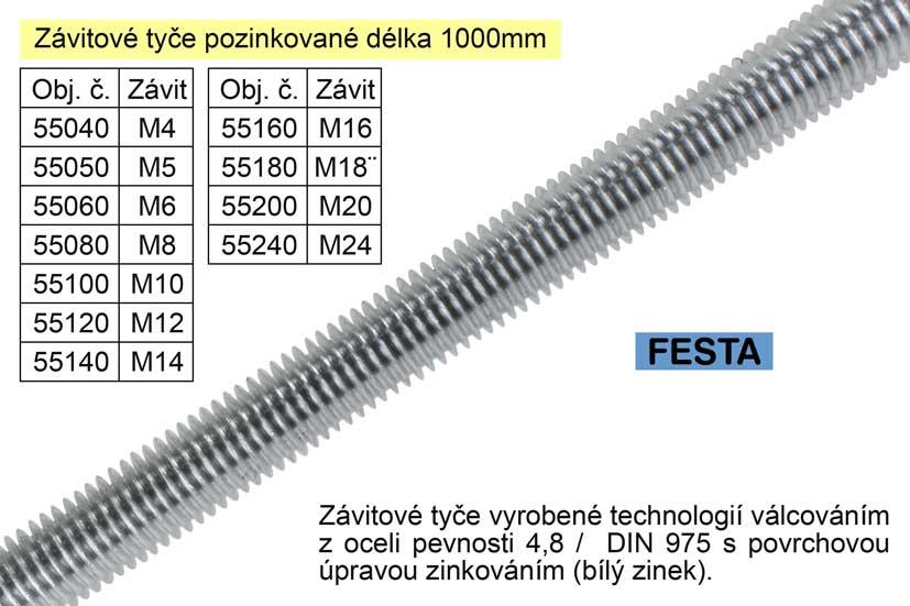 Závitová tyč pozinkovaná  M5x1000mm Nářadí 0.123Kg 55050
