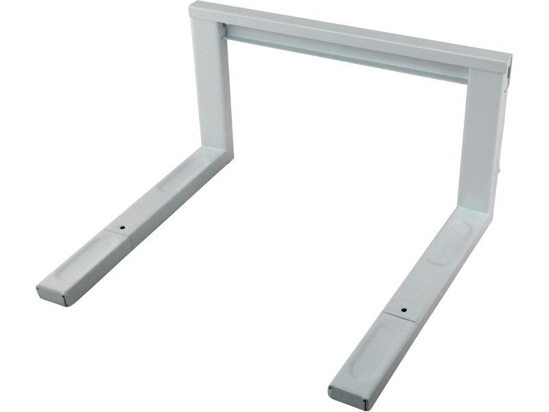 polička na mikrovlnnou troubu, kovová, bílá barva, šířka nosné lišty 43mm, nastavitelná h