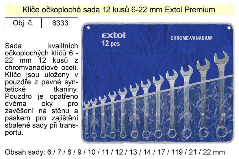 Klíče očkoploché sada 12 kusů 6-22mm CrV