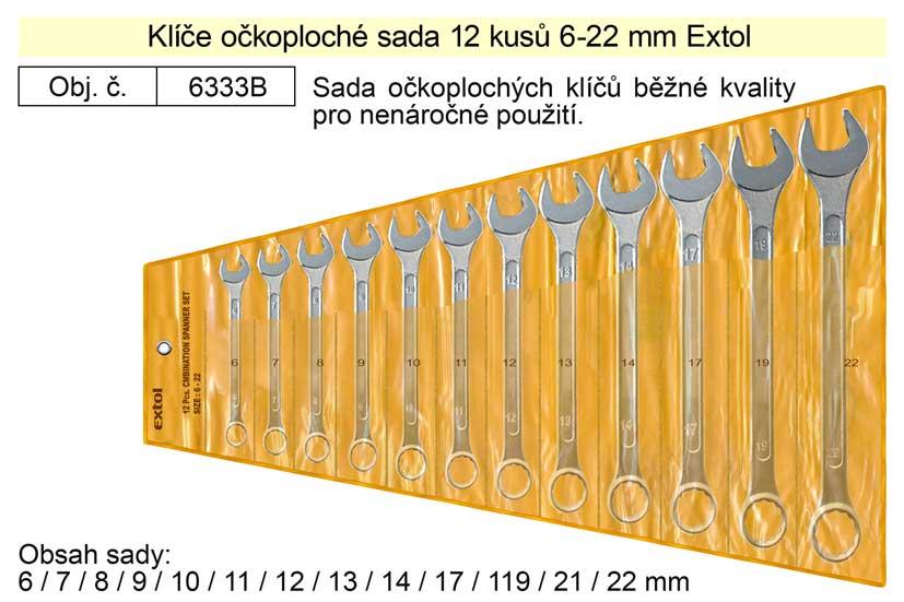 Klíče očkoploché sada 12 kusů 6-22mm W.S