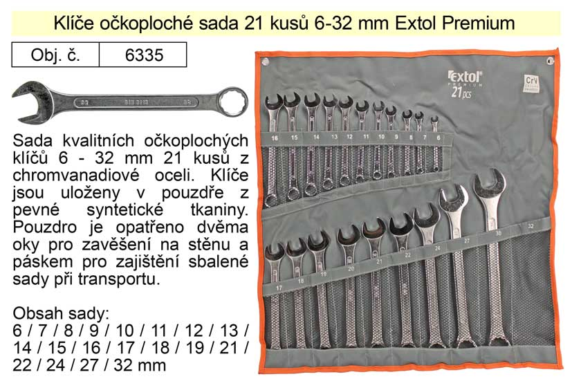 Klíče očkoploché sada 21 kusů 6-32mm CrV
