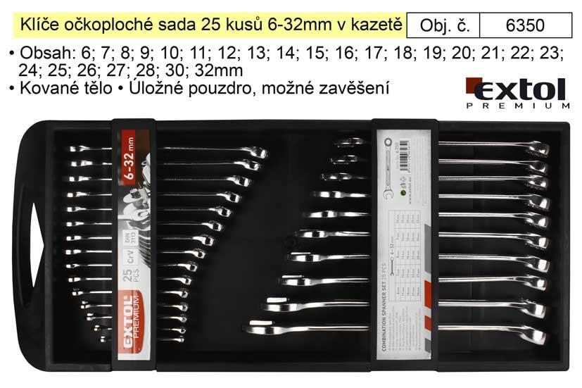 Klíče očkoploché sada 25 kusů 6-32mm v kazetě