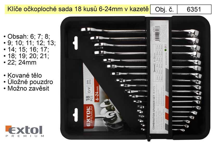 Klíče očkoploché sada 18 kusů 6-24mm v kazetě