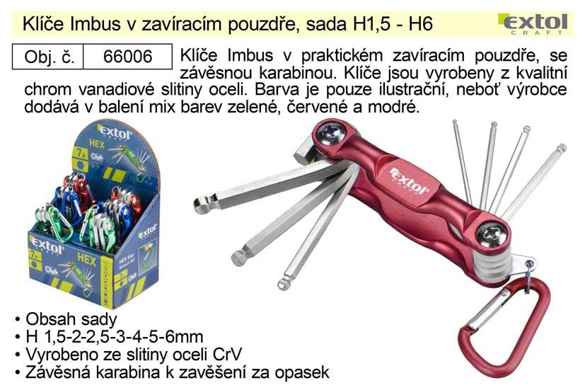 Klíče imbus v zavíracím pouzdře, sada H1,5 - H6