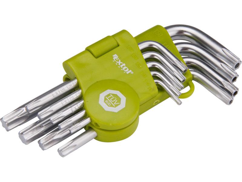 Klíče Torx, zahnuté, sada 9 kusů, Extol Craft
