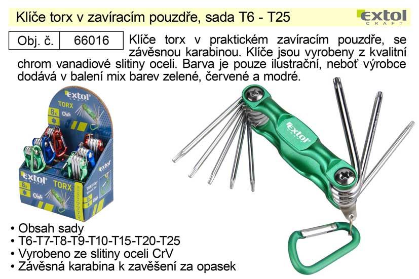Klíče torx v zavíracím pouzdře, sada T6 - T25 Nářadí 0.148Kg MA66016