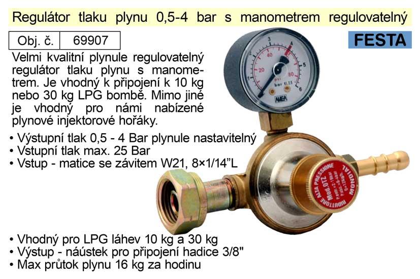 Regulátor tlaku plynu 0,5-4bar s manometrem regulovatelný vhodný pro plynové hořáky