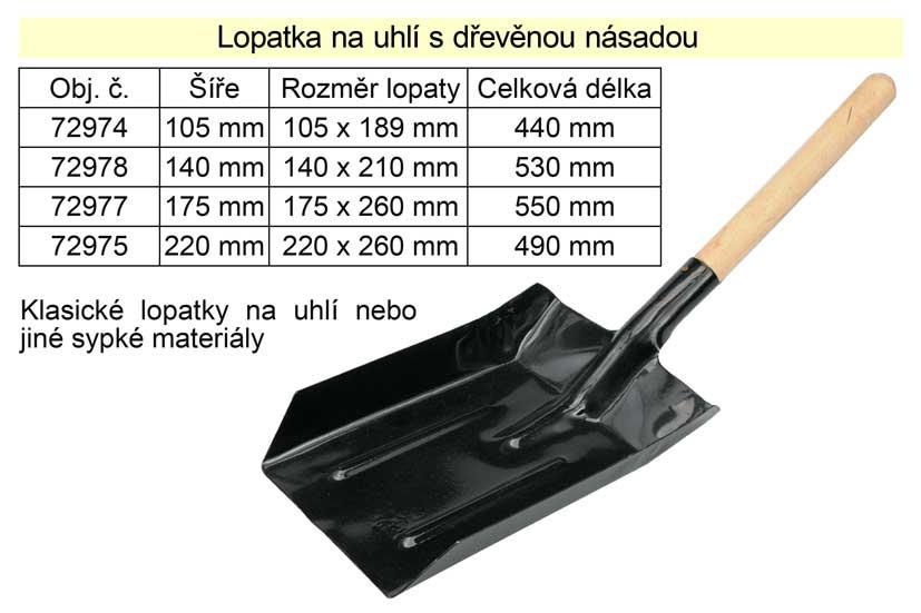 Lopatka na uhlí šíře 220 mm