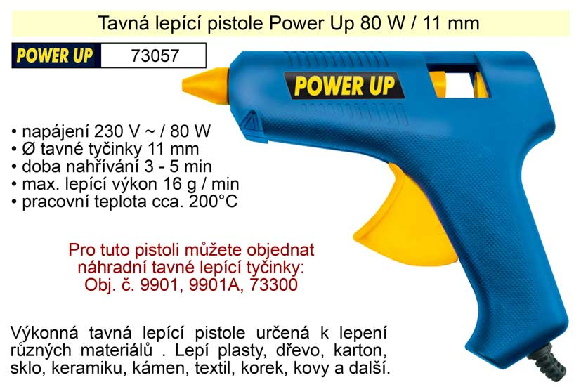 Tavná lepící pistole Power Up 80 W 11 mm Nářadí 0.365Kg TO-73057
