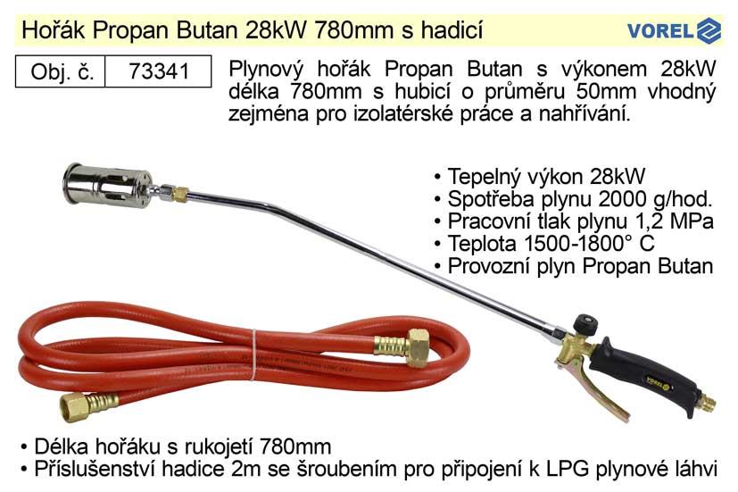 Hořák Propan Butan Vorel 28kW 780mm s hadicí