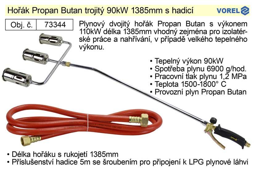 Hořák Propan Butan Vorel trojitý 90kW 1385mm s hadicí