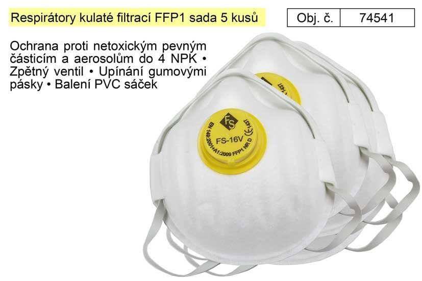 Respirátory kulaté filtrací FFP1 sada 5 kusů