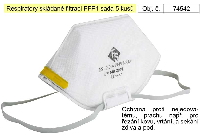 Respirátory skládané filtrací FFP1 sada 5 kusů