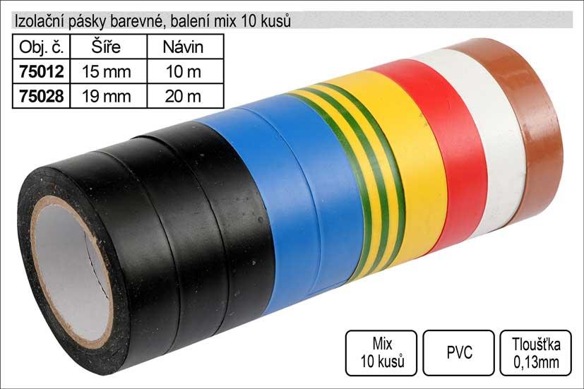 Izolační pásky elektrikářské PVC 15mm délka 10m barevné balení 10 ku