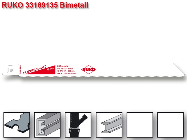 List pro ocasku mečovou pilu HSS Bi-metal 228mm Ruko