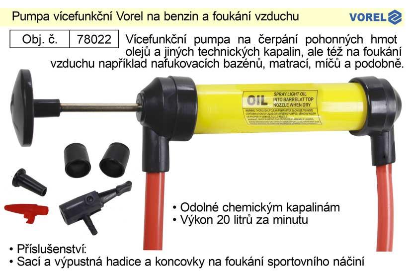 Pumpa vícefunkční Vorel na benzin a foukání vzduchu