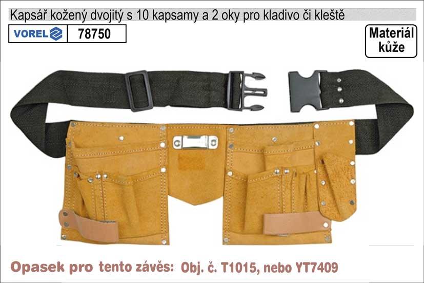 Kapsář kožený s 2 hlavními kapsami s opaskem Nářadí 0.25Kg TO-78750