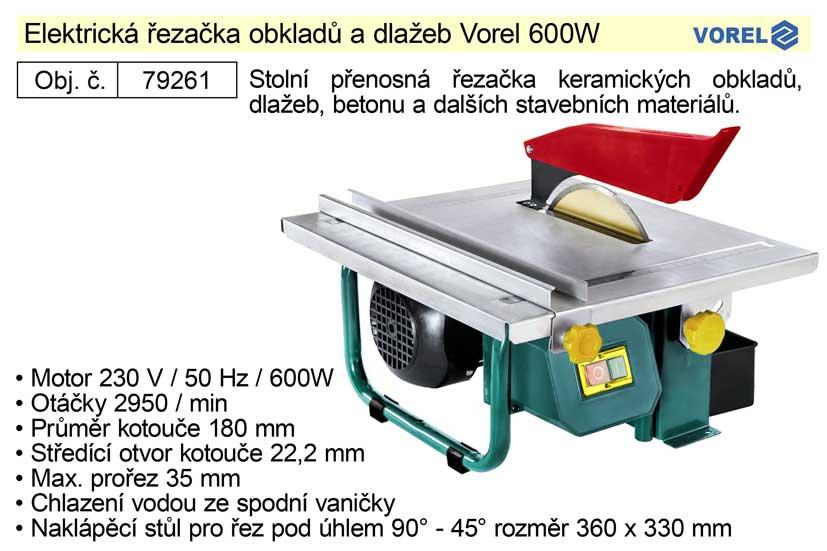 Stolní elektrická řezačka obkladů a dlažeb Vorel 600 W